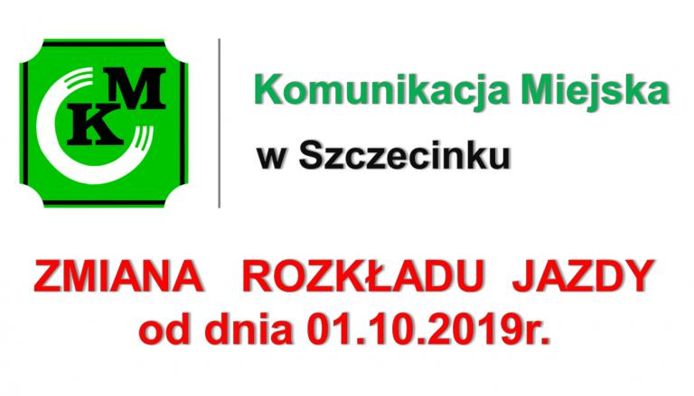 Zmiana rozkładu jazdy od dnia 01.10.2019r.