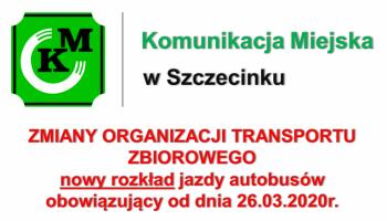 Nowy, tymczasowy rozkład jazdy autobusów od dnia 26-03-2020 r.