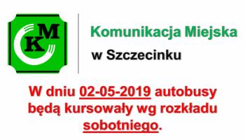 Kursy autobusów w dniu 02.05.2019r.