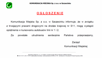 Ogłoszenie dot. autobusów lini nr 1 i 2