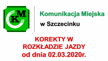 Drobne korekty rozkładu jazdy od dnia 02.03.2020r.