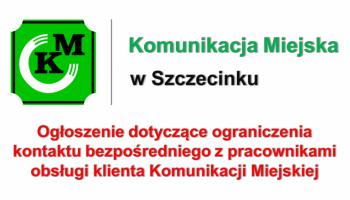 Ogłoszenie dot. ogranieczenia kontaktu bezpośredniego z pracownikami Komunikacji Miejskiej