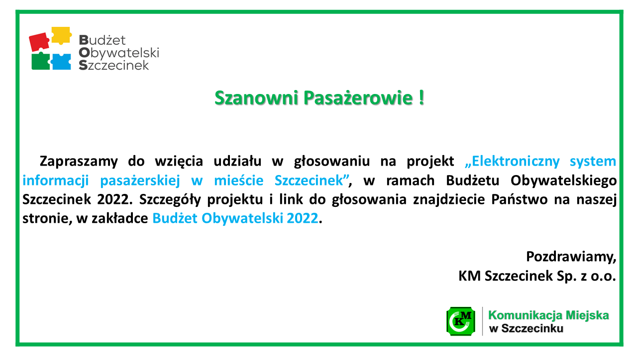 Zagłosuj na projekt nr 9!!!!   Elektroniczny system informacji pasażerskiej w mieście Szczecinek.