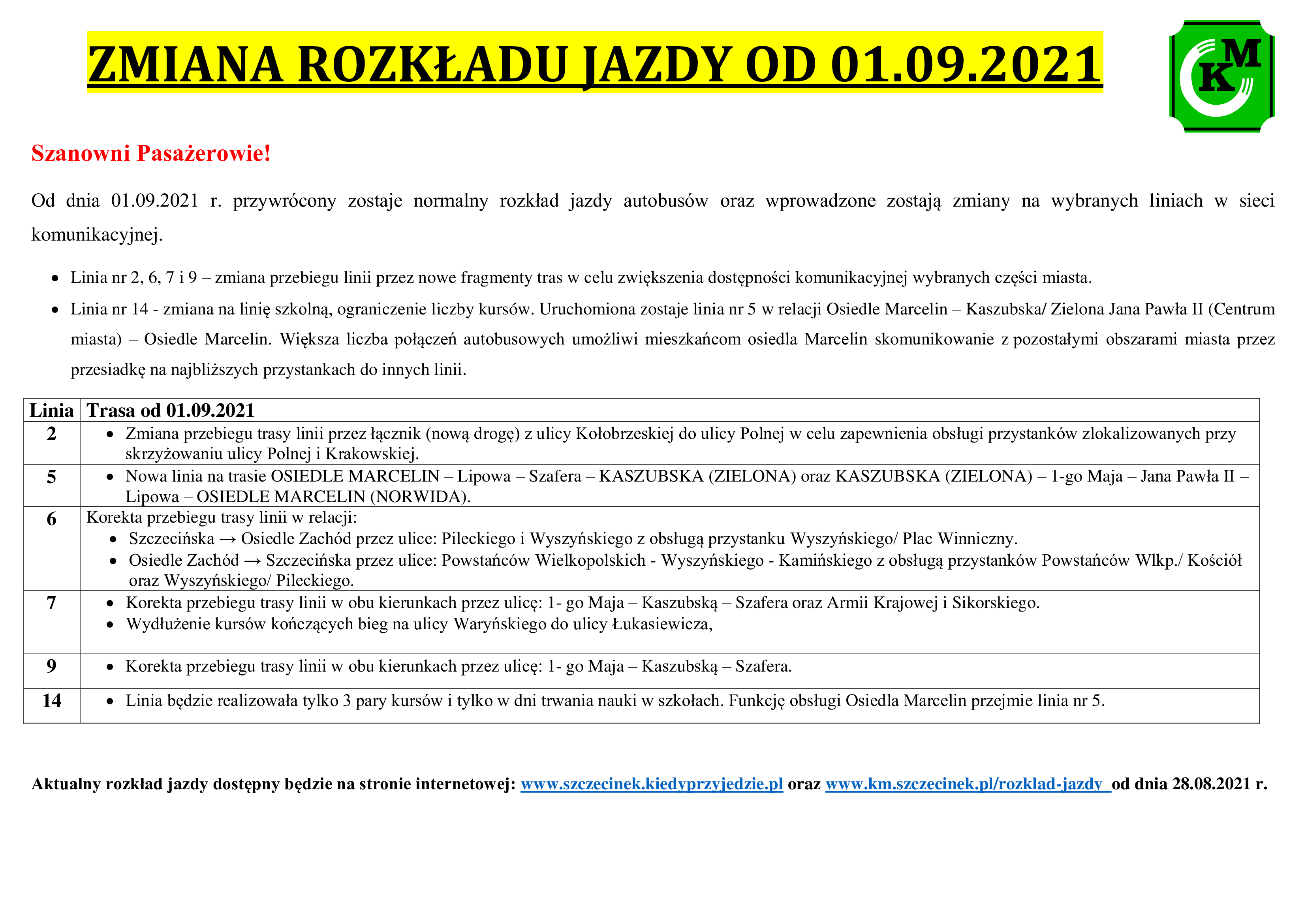 Zmiana rozkładu jazdy od 01.09.2021 r.