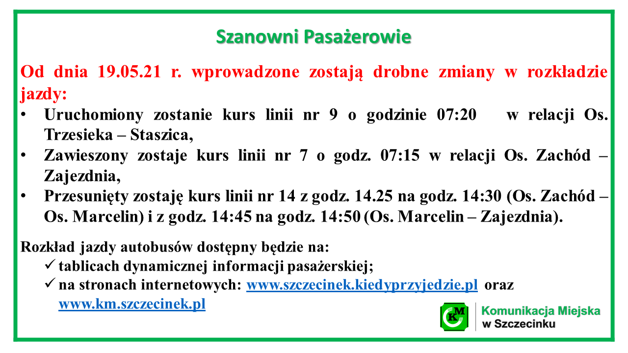 Zmiany w rozkładzie jazdy od 19.05.2021 r.